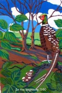 Pheasant scene in woodland 1980